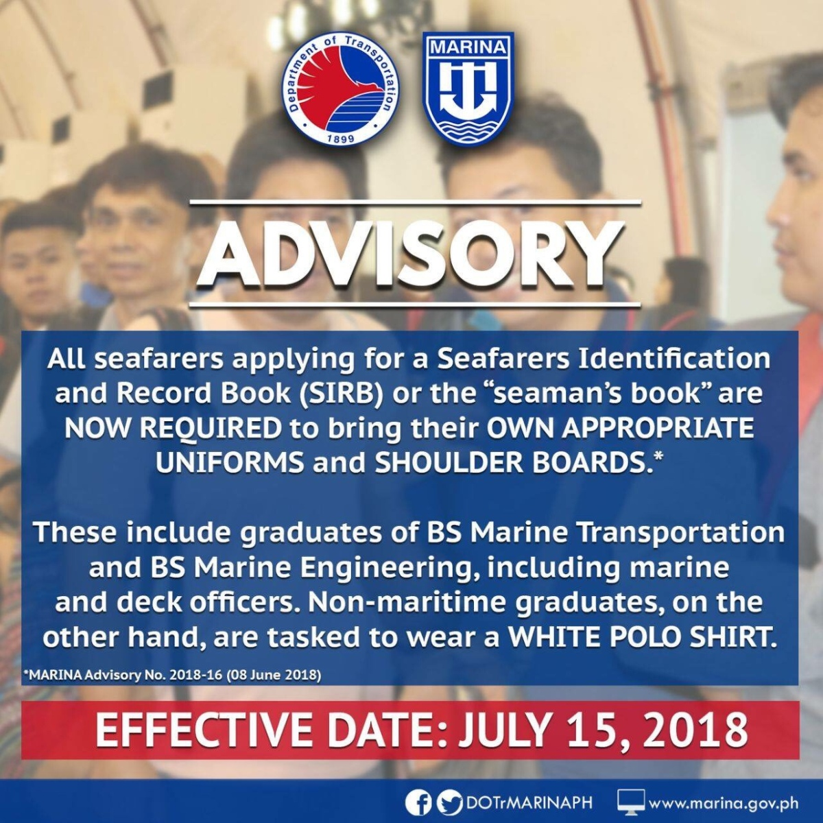 IMPORTANT ADVISORY TO ALL SEAFARERS